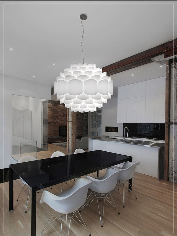 Modular Lamp Shade in White in a Dining Room.