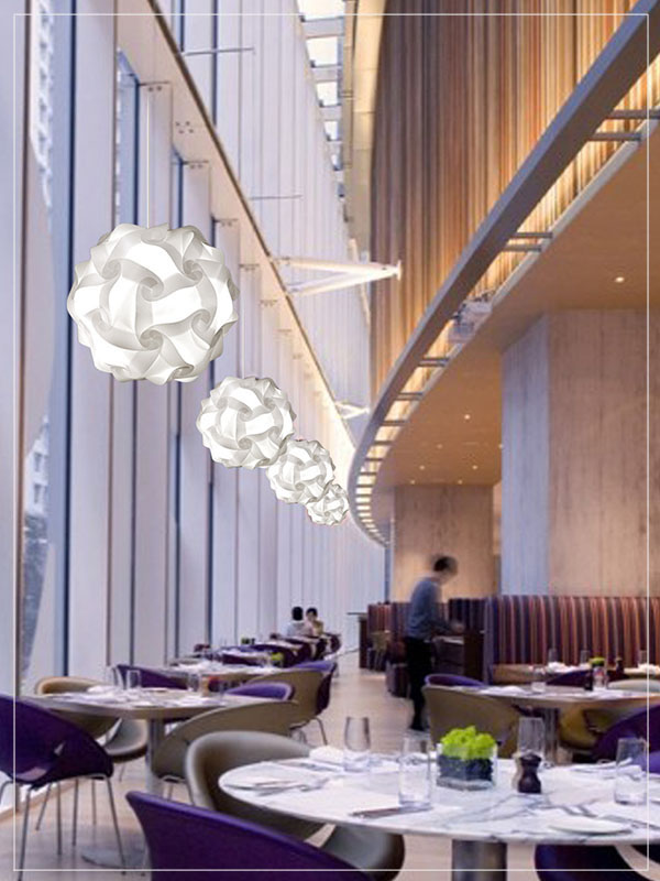 Contemporary Pendant Light Fixture Flower Ball in a Restaurant.