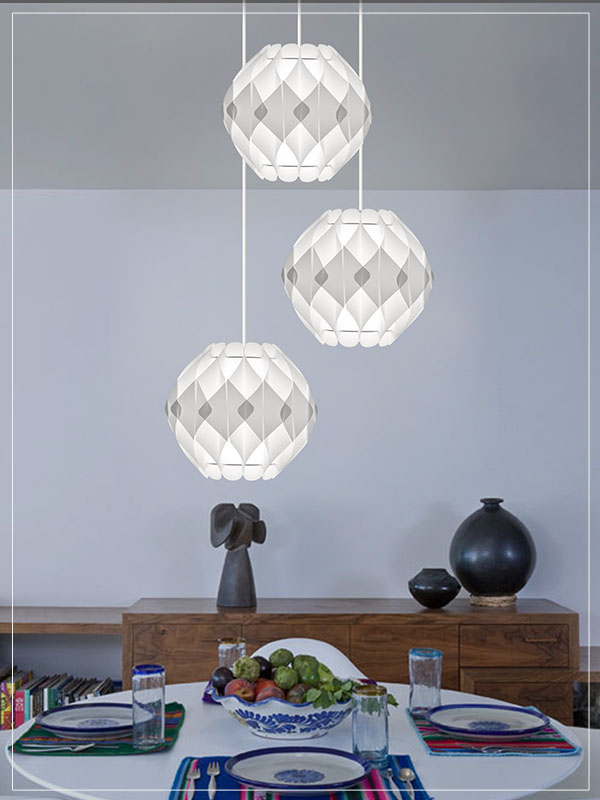 Contemporary Modular light fixture Nova in Dining Room.