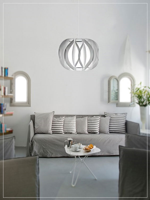 Contemporary Pendant lamp shade Luna White in a living room.