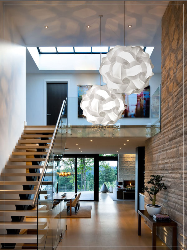 White Pendant Lamp Shade Flower Ball in a Living Room.