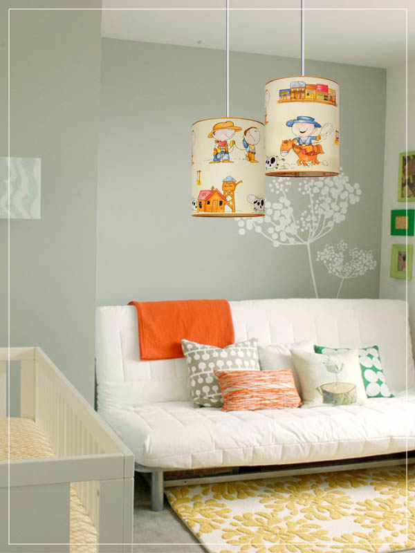 Pendant Children's Lampshades Cowboys Cartoon in a Nursery.