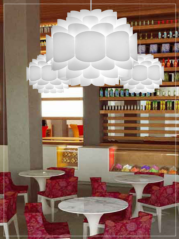 Contemporary Pendant Lamp Shade Galaxy in a Cafeteria.