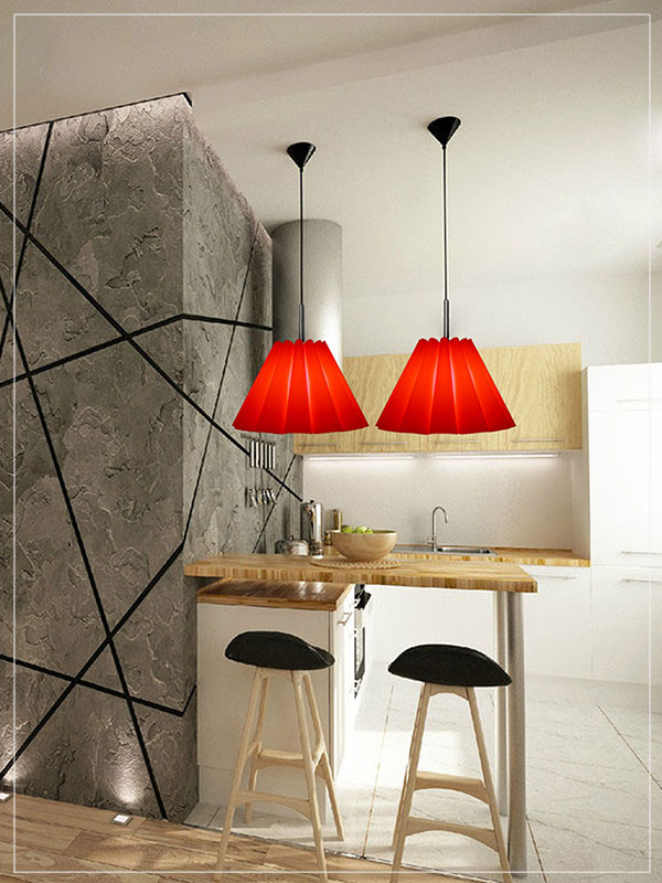 Red Pendant Lamp Shade Data in a Kitchen.