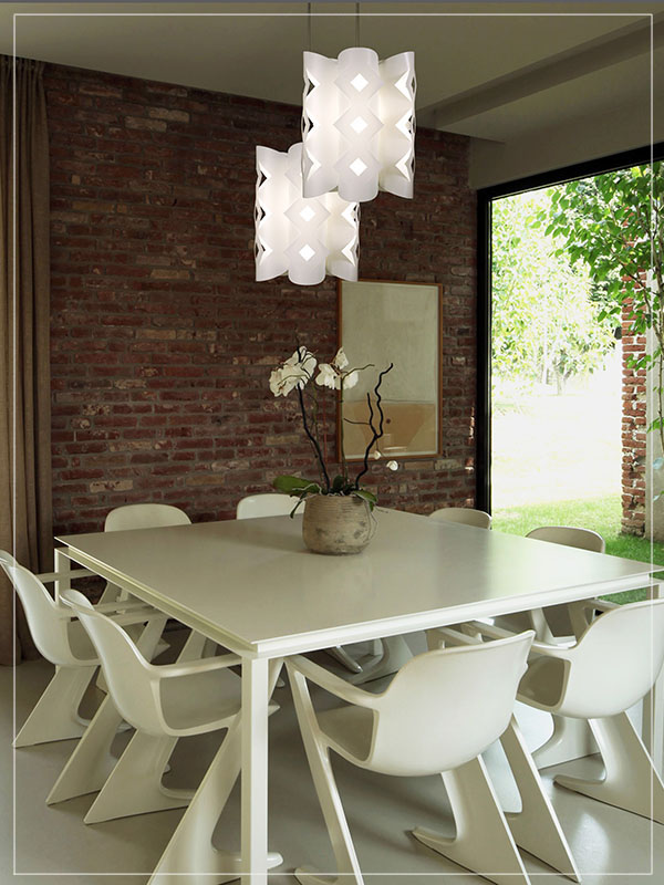 Pendant Lamp Shade Domus in White in a Dining Room.