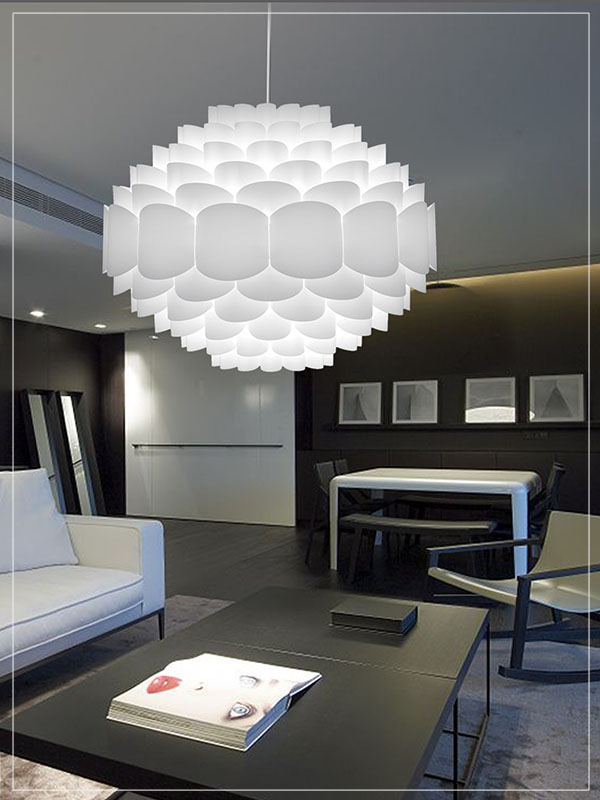 Pendant Light Fixture Galaxy in a Living Room.