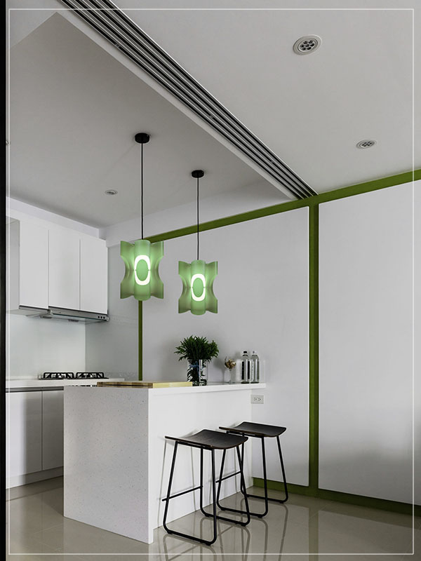 Contemporary Pendant Lamp Shade Sun in Green in a Kitchen.