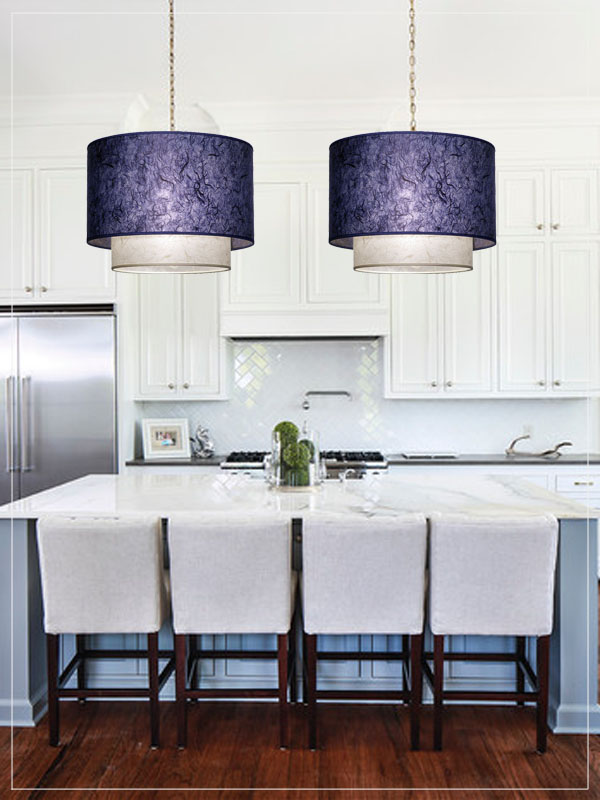 Pendant lampshades Twin in a kitchen.