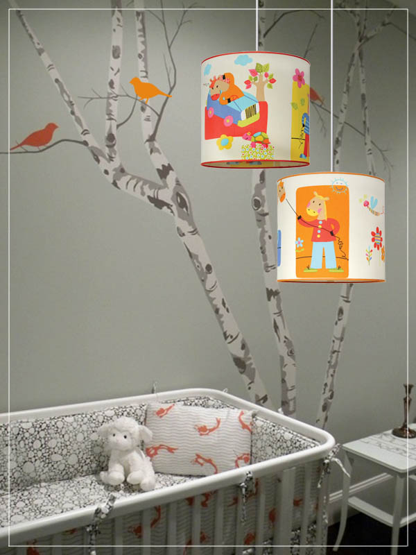 Pendant Children's Lampshades Carnaval Cartoon in a nursery.