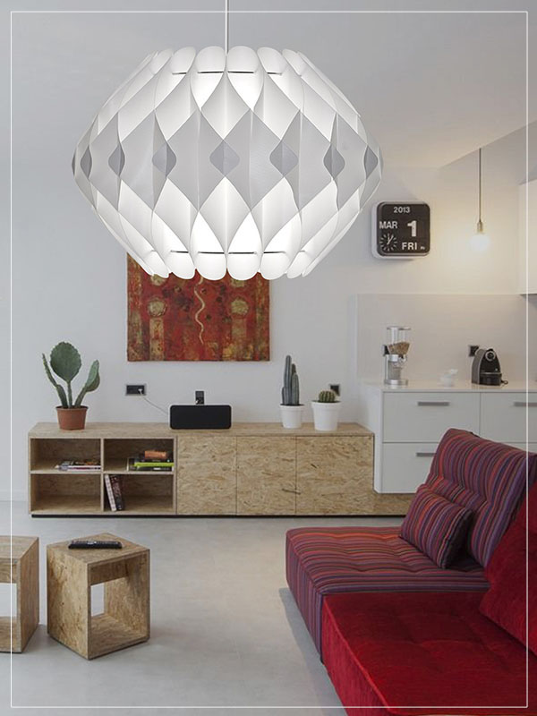 Modular Lamp Shade Nova in a retro Living Room.