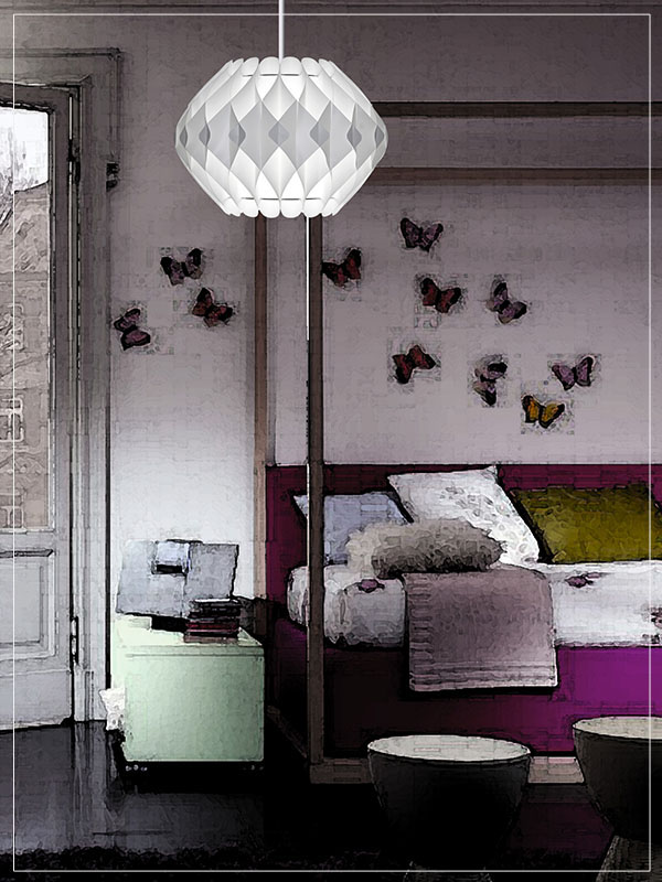 Pendant Modular Lamp Shade Nova in a Young Bedroom.