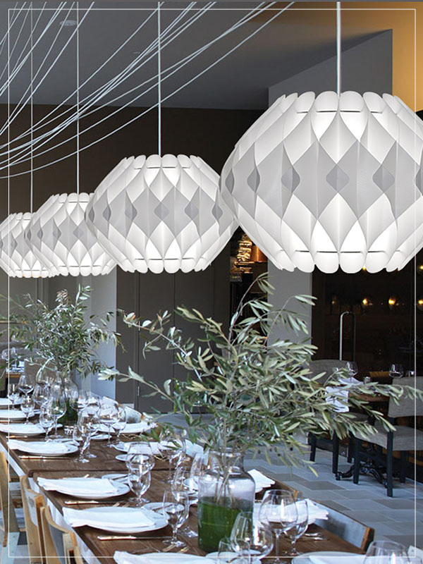 Pendant Light Fixture Nova Series in a Restaurant.