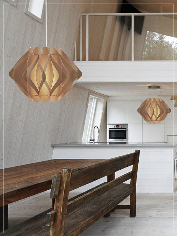 Modular Pendant Lamp Shade Ravena in a dining room.