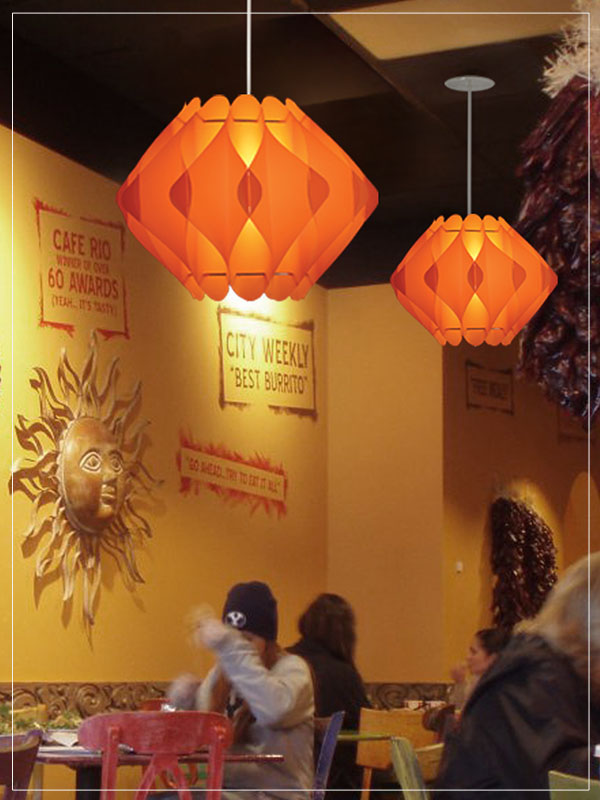 Orange Modular Pendant Lamp Shades Saporo in a restaurant.