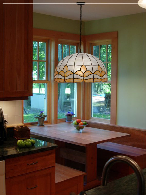 Seashel pendant lampshade for kitchen.