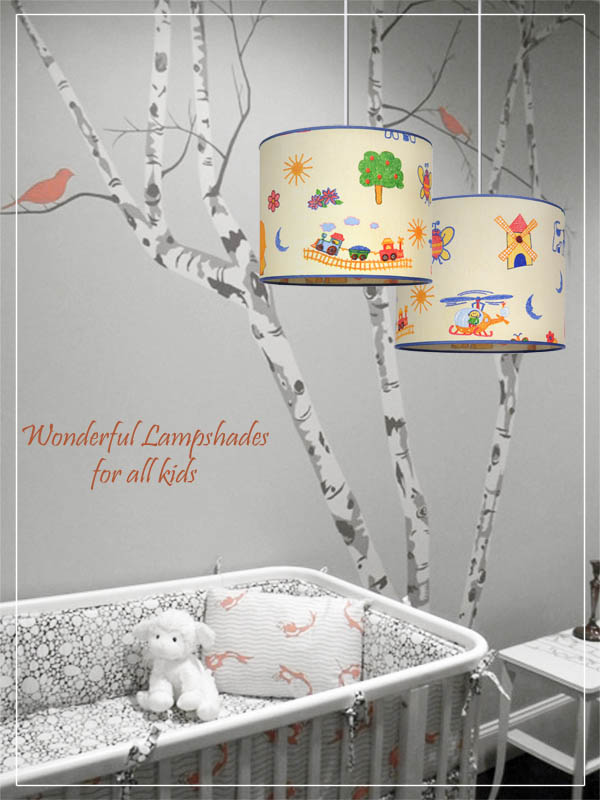 Pendant Children's Lampshades Countryside Cartoon in a nursery.