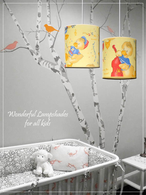 Pendant Children's Lampshades Ducklings Cartoon in a nursery.