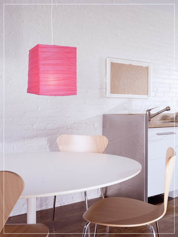 Pink square pendant lantern in a kitchen.