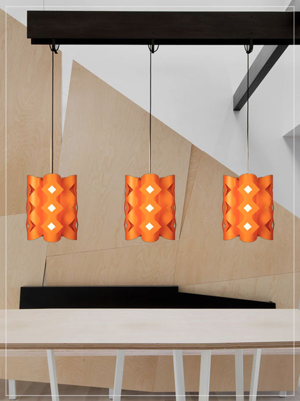 Contemporary pendant lampshade Domus orange in a kitchen.