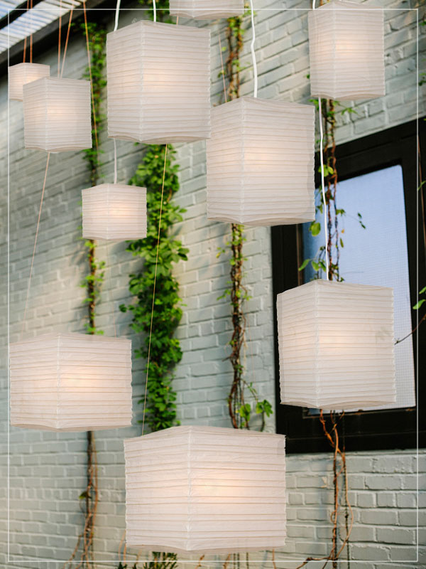 Square pendant rice paper lamps.