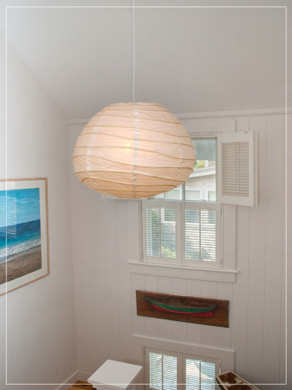 Rice paper lantern in a beach house.